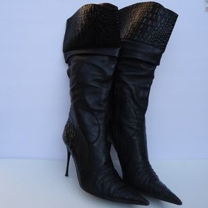 SIZE 9.ALDO HIGH HEEL POINTED TOE LEATHER BOOTS.